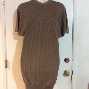 Calvin Klein Taupe V-Neck Batwing Sweater Dress